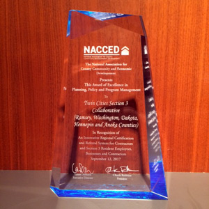 Ramsey, Washington, Dakota, Hennepin and Anoka counties received an award of excellence from the National Association for County Community and Economic Development (NACCED