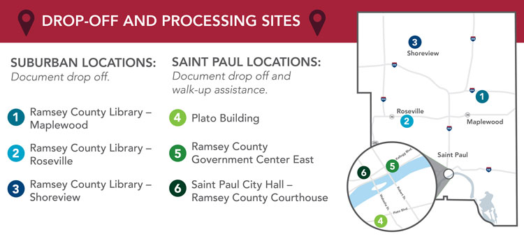 Map graphic showing locations of drop-off sites in Maplewood, Roseville, Shoreview and Saint Paul.