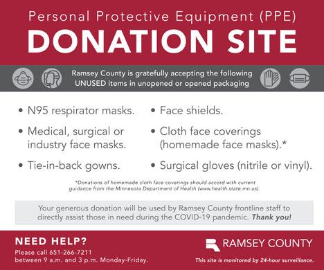 PPE donation site sticker