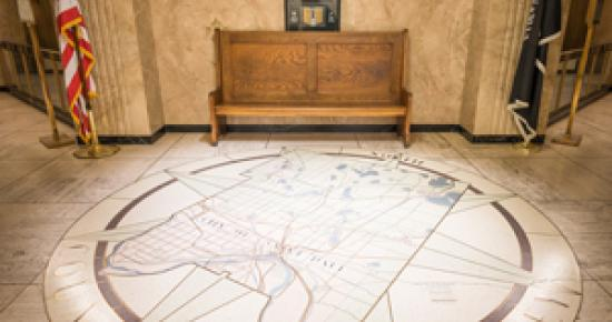 Ramsey County map in floor of Saint Paul City Hall - Ramsey County Courthouse