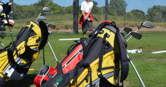 Line of golf bags