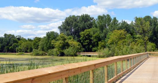 Trail boardwalk at Keller Regional Park